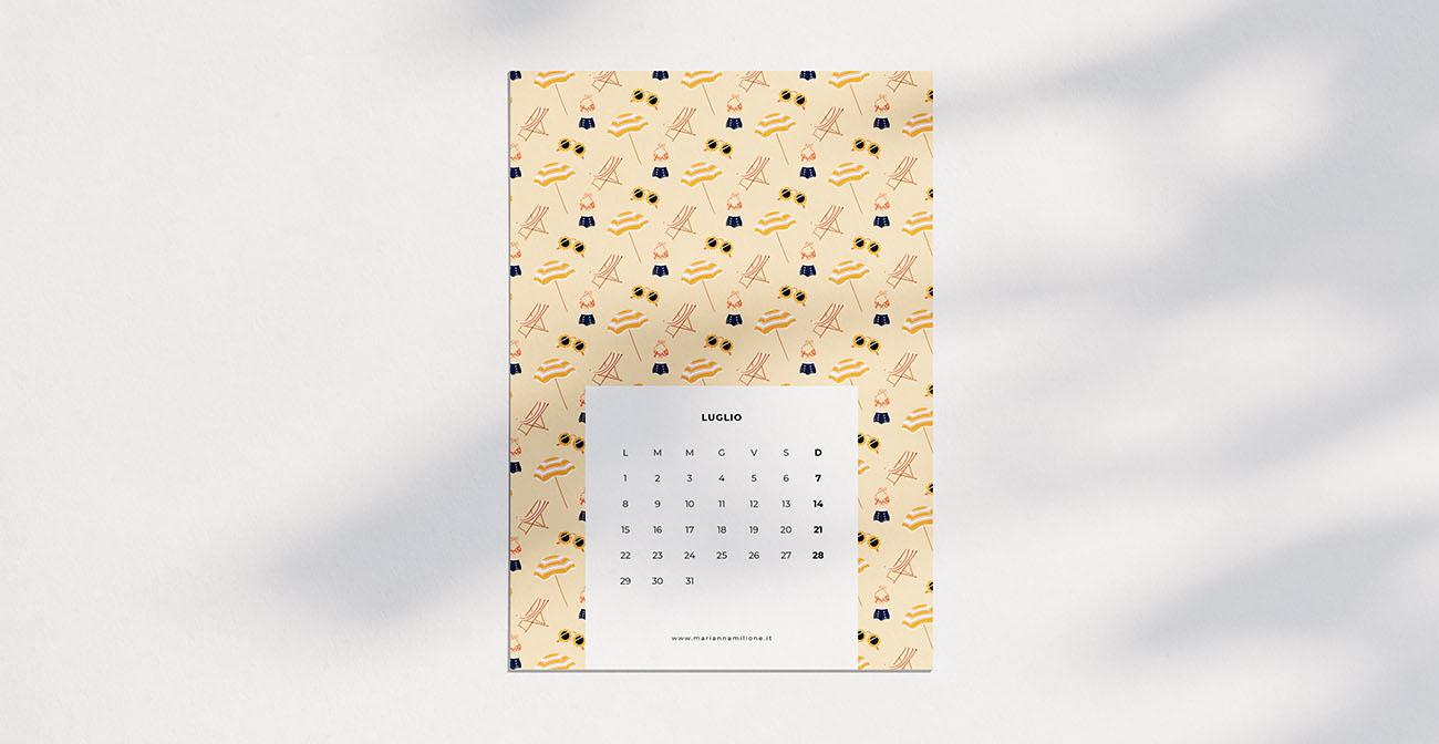 Calendario mensile per luglio 2019 con pattern disponibile per la stampa, computer e telefono. Risorse gratuite di Marianna Milione