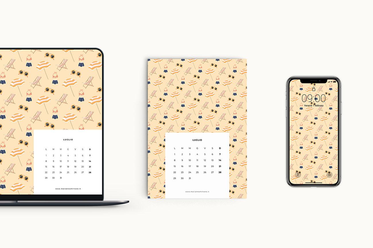 Calendario 31 Luglio 2019.Luglio Il Calendario Del Mese Gratuito Marianna Milione
