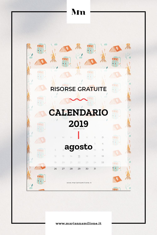 Agosto Calendario.Agosto Il Calendario Del Mese Gratuito Marianna Milione