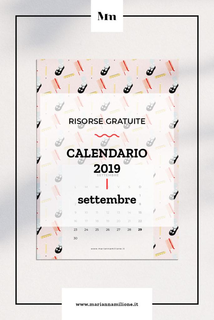 Calendario mensile per settembre 2019 con pattern disponibile per la stampa, computer e telefono. Risorse gratuite di Marianna Milione
