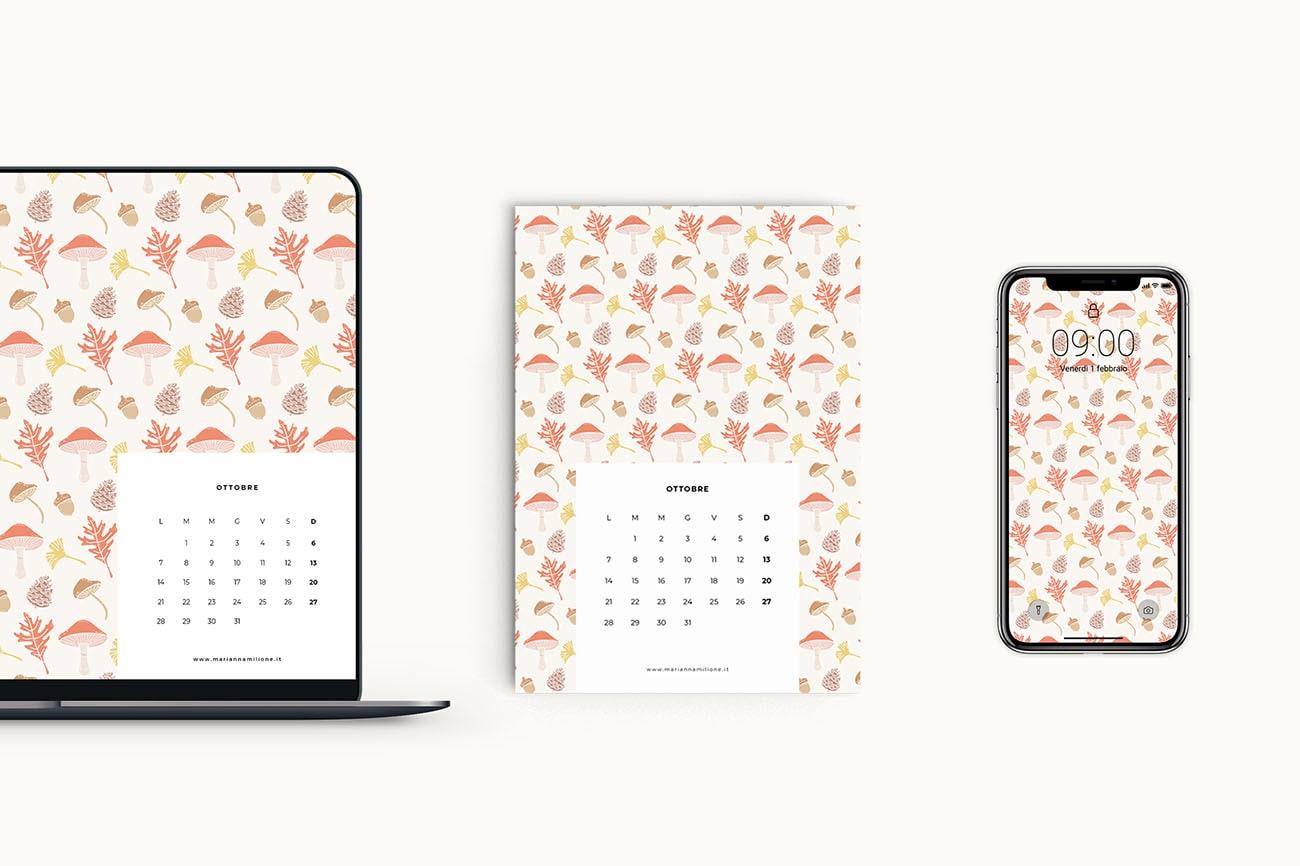 Calendario mensile per ottobre 2019 con pattern disponibile per la stampa, computer e telefono. Risorse gratuite di Marianna Milione