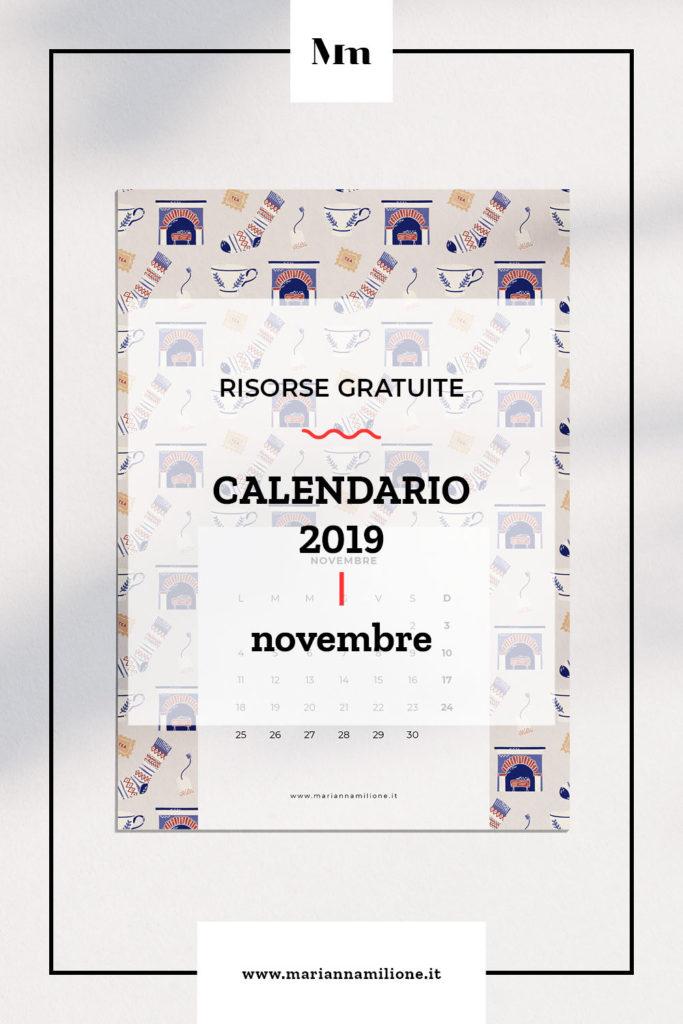 Calendario mensile per novembre 2019 con pattern disponibile per la stampa, computer e telefono. Risorse gratuite di Marianna Milione