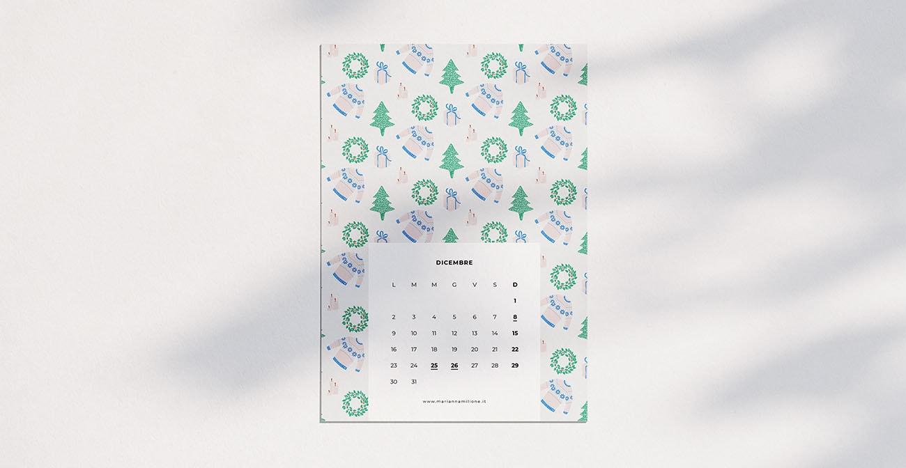 Calendario mensile per dicembre 2019 con pattern disponibile per la stampa, computer e telefono. Risorse gratuite di Marianna Milione