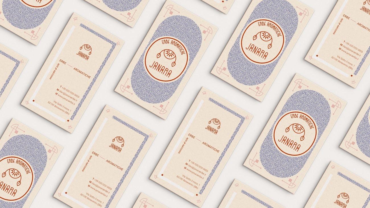 Biglietto da visita realizzato per l'identità grafica di Janara. Progetto realizzato da Marianna Milione.