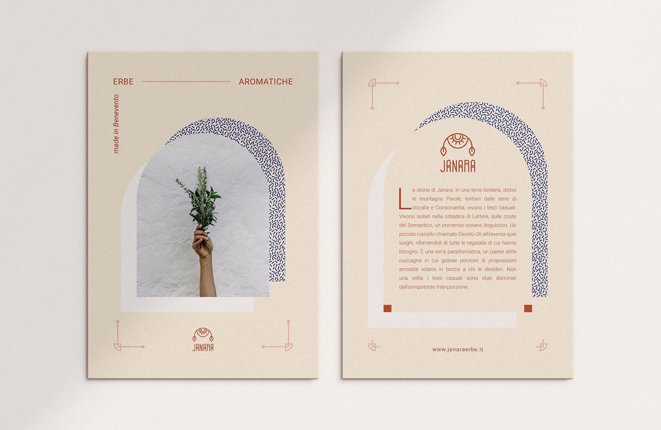 Cartolina realizzata per l'identità grafica di Janara. Progetto realizzato da Marianna Milione.