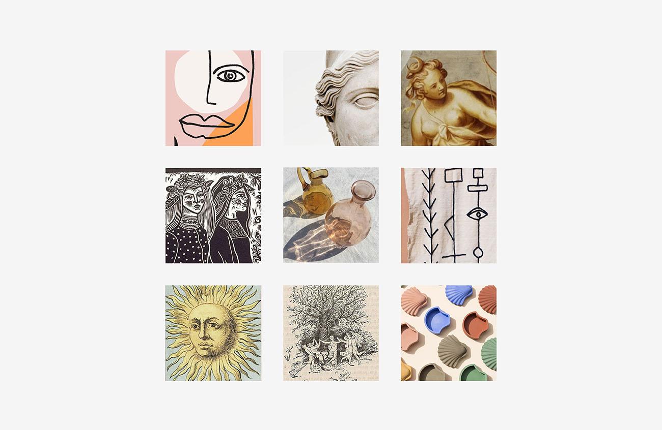 Moodboard realizzata per l'identità grafica di Janara. Progetto realizzato da Marianna Milione.