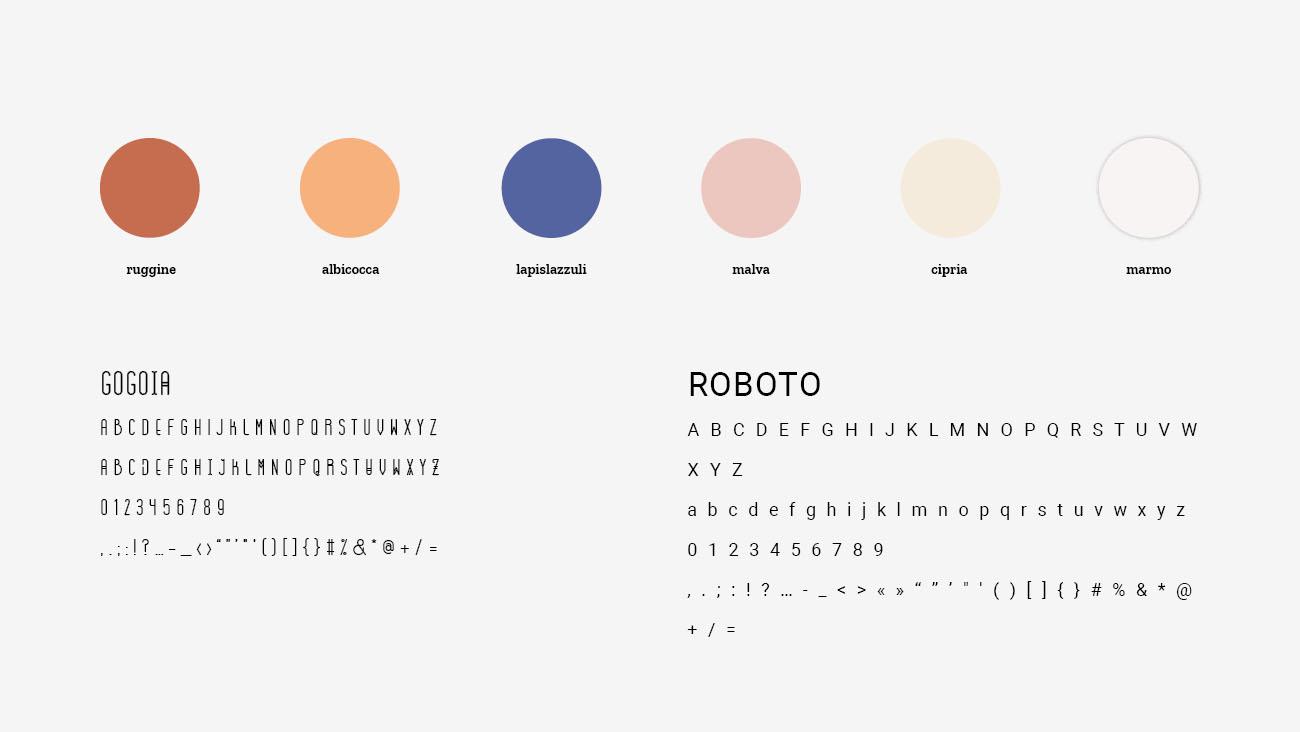 Palette colori e font selezionate per l'identità grafica di Janara. Progetto realizzato da Marianna Milione.