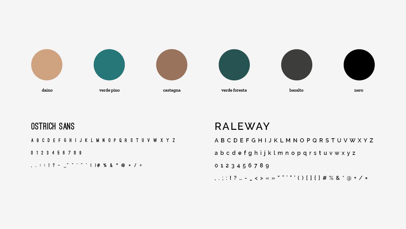 Palette colori e font selezionate per l'identità grafica di Profilgreen. Progetto realizzato da Marianna Milione.