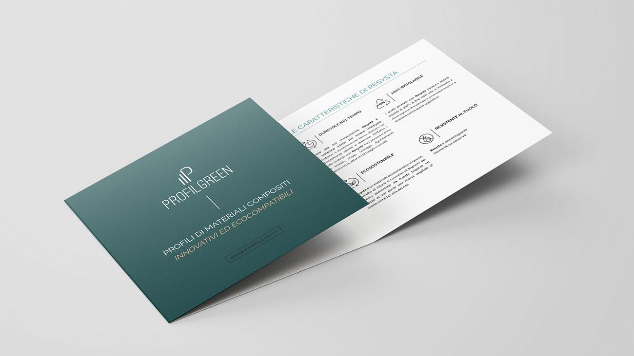 Pieghevole realizzato per l'identità grafica di Profilgreen. Progetto realizzato da Marianna Milione.
