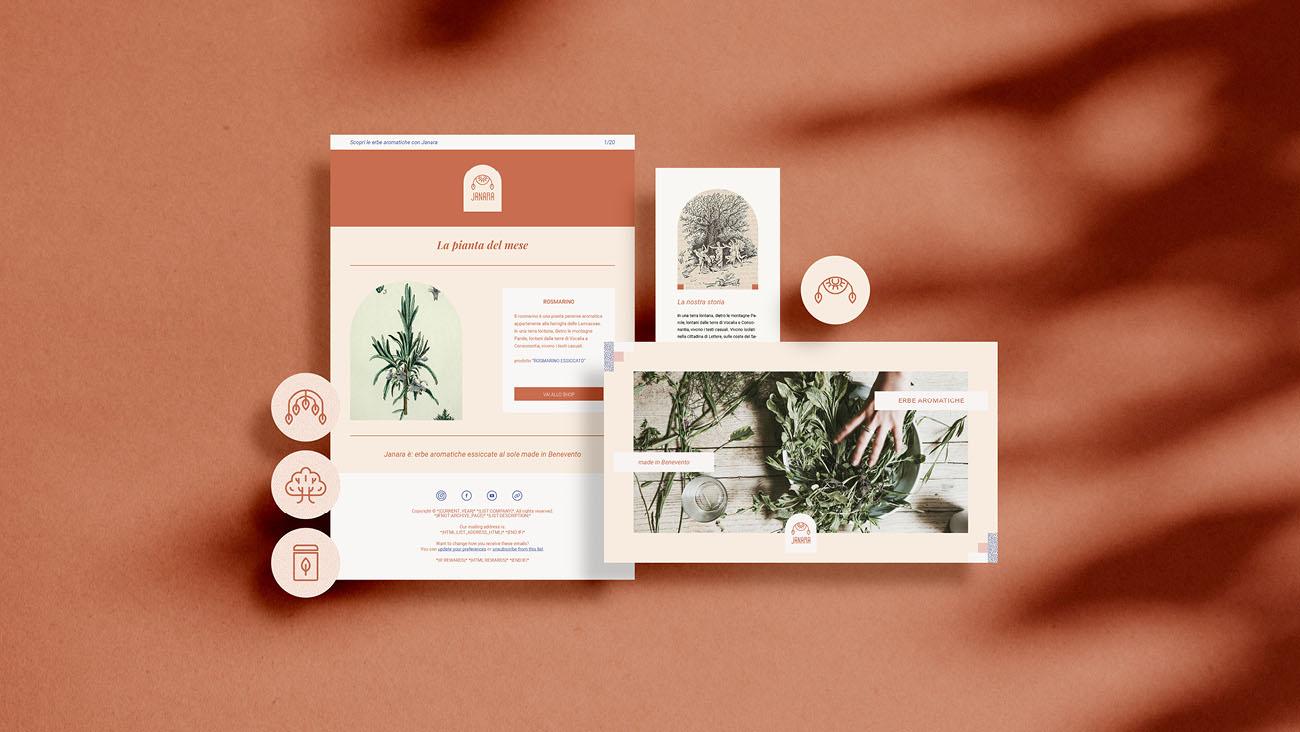 Grafica web (newsletter, banner e grafica per Instagram) realizzata per l'identità grafica di Janara. Progetto realizzato da Marianna Milione.
