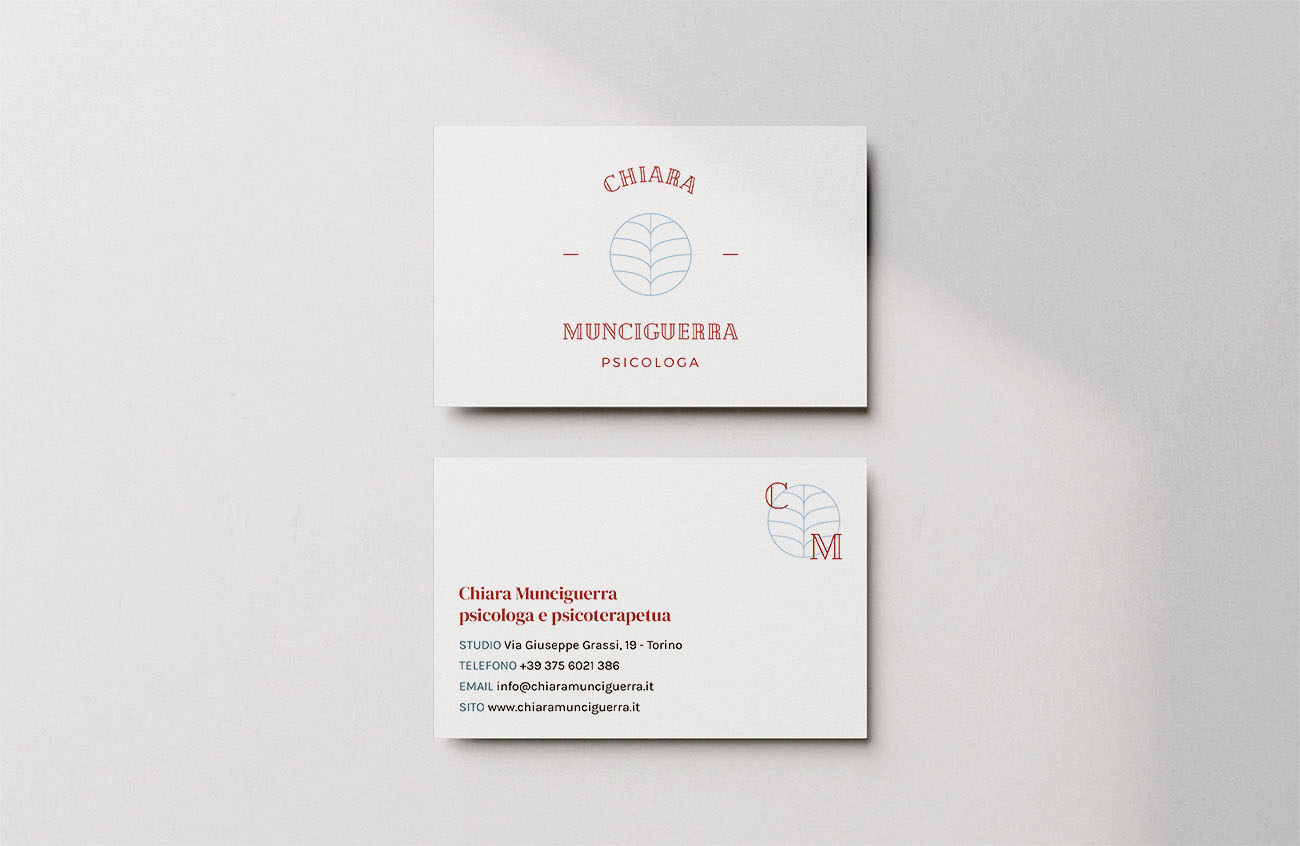 Biglietto da visita realizzato per l'identità grafica di Chiara Munciguerra, psicologa. Progetto realizzato da Marianna Milione.