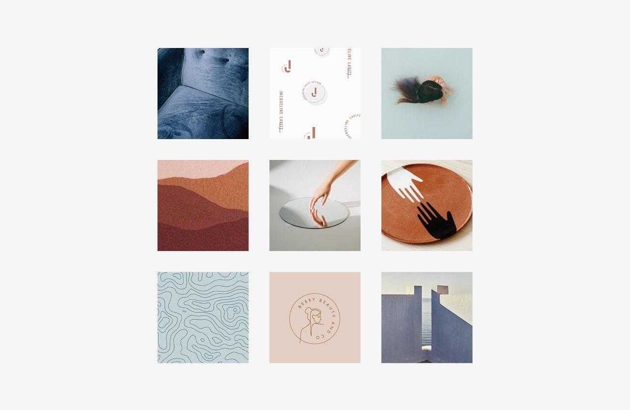 Moodboard realizzata per l'identità grafica di Chiara Munciguerra, psicologa. Progetto realizzato da Marianna Milione.