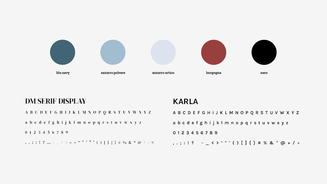 Palette colori e font selezionate per l'identità grafica di Chiara Munciguerra, psicologa. Progetto realizzato da Marianna Milione.