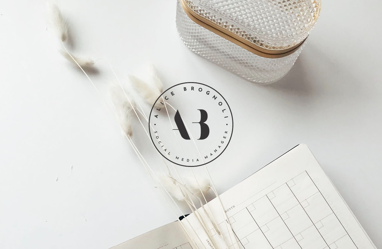 Identità grafica realizzata per Alice Brognoli, social media manager di Brescia. Design di Marianna Milione.