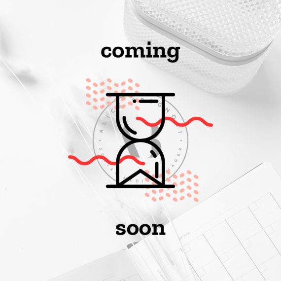 Coming soon: identità grafica realizzata per Alice Brognoli, social media manager di Brescia. Design di Marianna Milione.