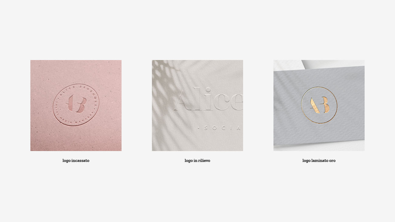 Effetti di stampa del logo realizzato per l'identità grafica realizzata per Alice Brognoli, social media manager. Design di Marianna Milione.