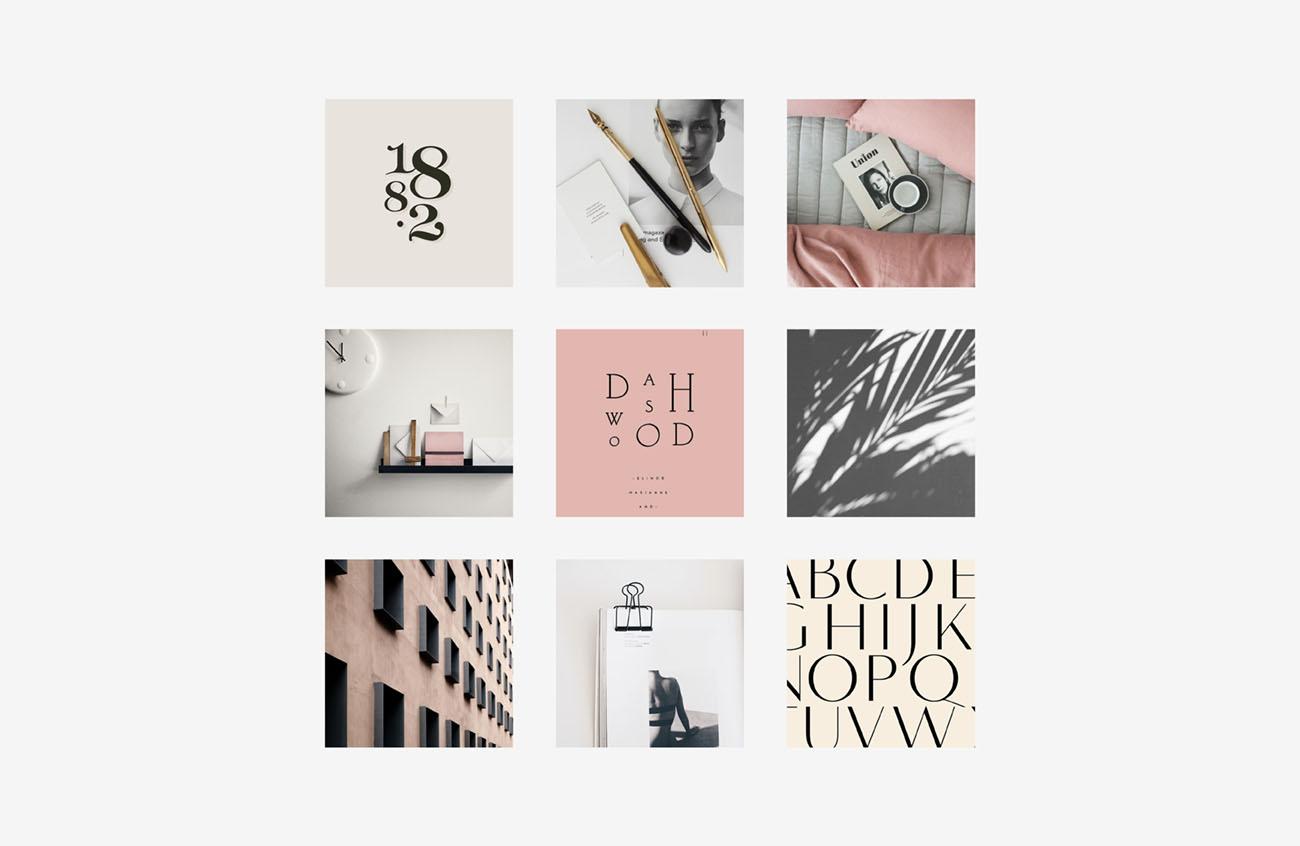 Moodboard realizzate per l'identità grafica di Alice Brognoli, social media manager di Brescia. Design di Marianna Milione.