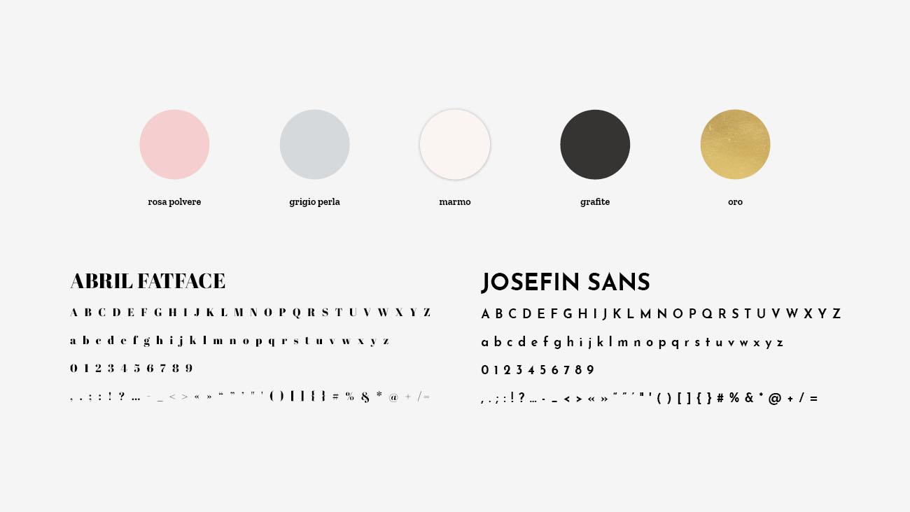Palette colori e font selezionate per l'identità grafica di Alice Brognoli, social media manager. Progetto realizzato da Marianna Milione.