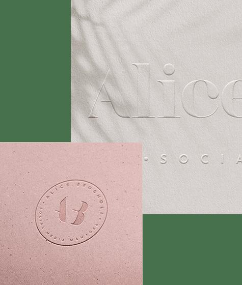 Identità visiva base per Alice Brognoli, design di Marianna Milione