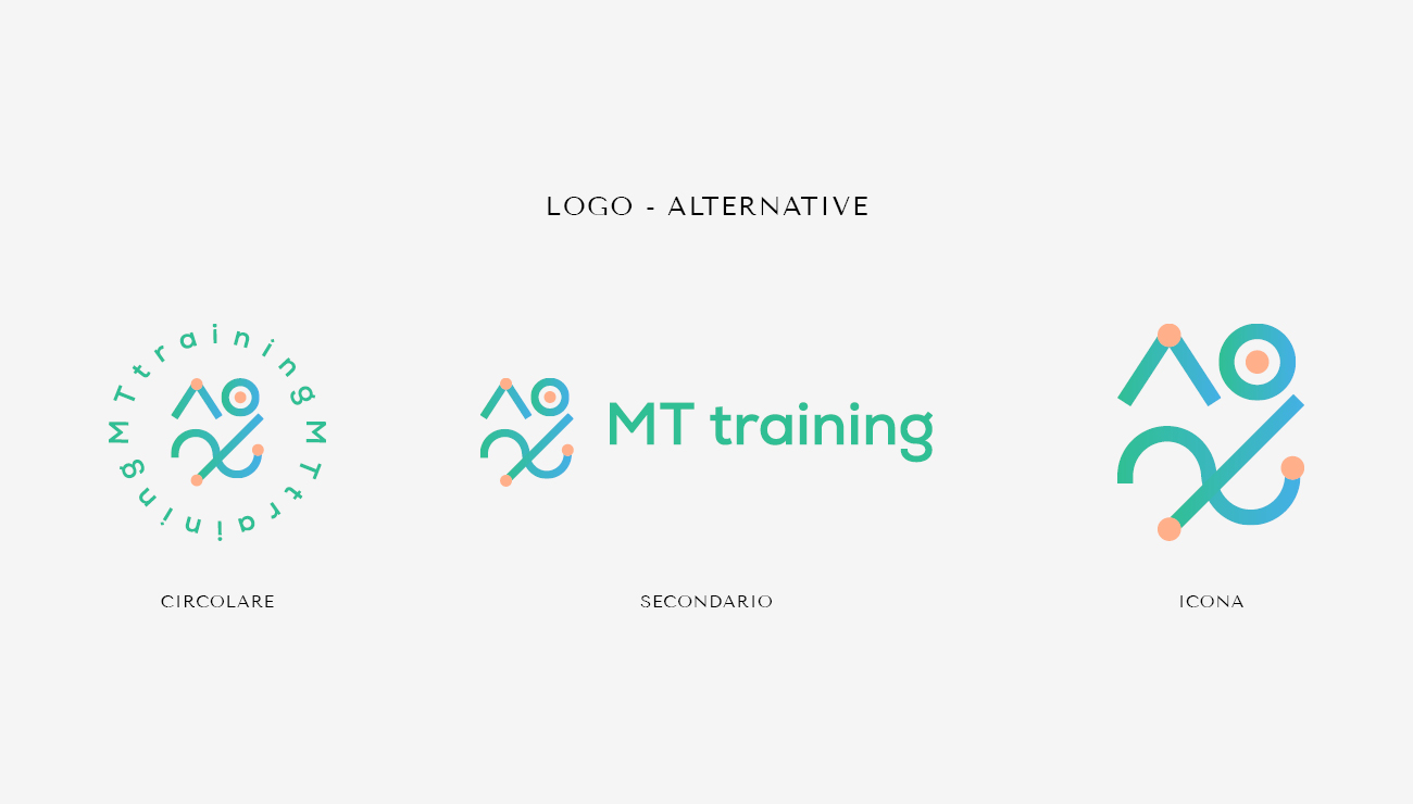 Alternative del logo per MT Training, grafica di Marianna Milione