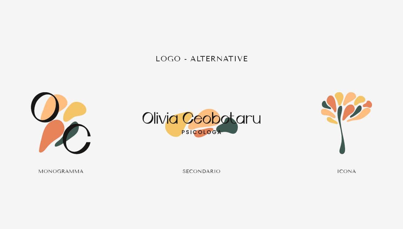 Alternative di logo per Olivia Ceobotaru, grafica di Marianna Milione