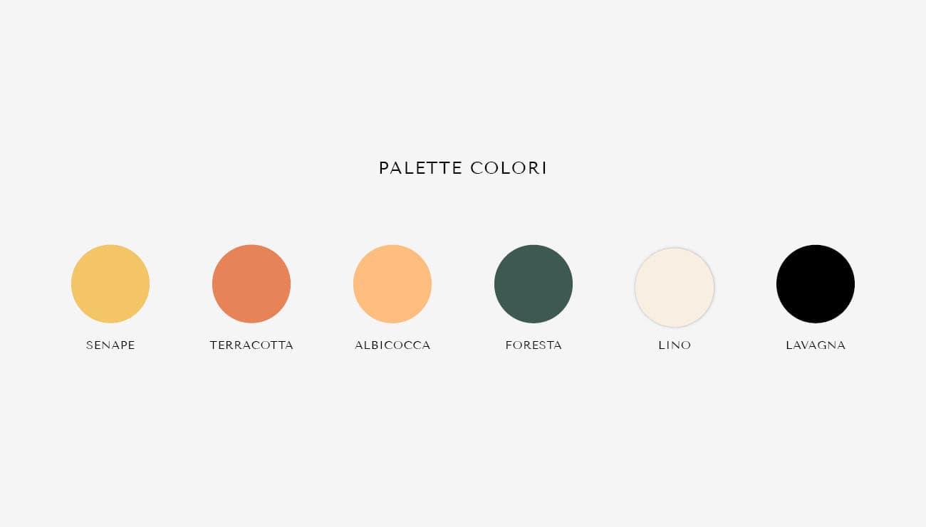 Palette colori per Olivia Ceobotaru, grafica di Marianna Milione